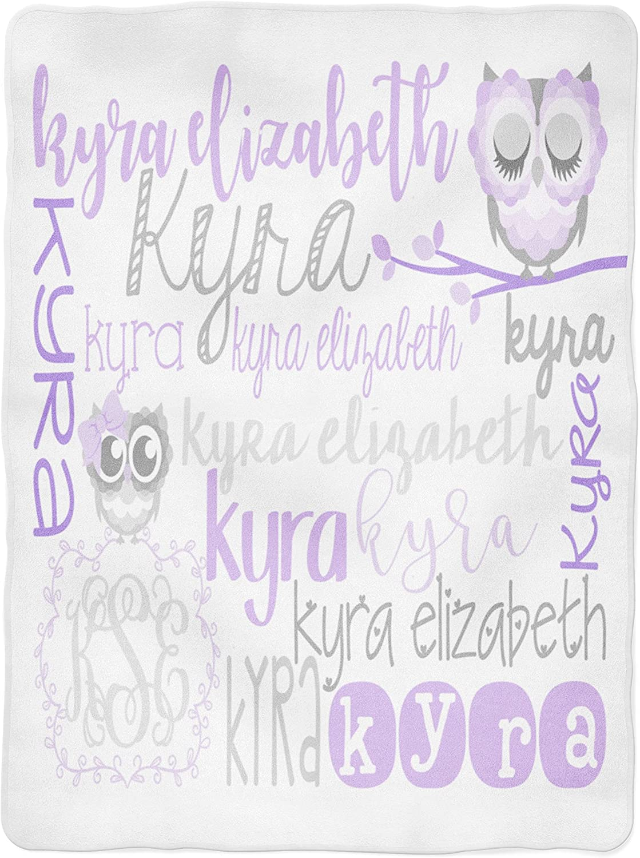 Personalized Baby Blanket - Owl Baby Blankey - Purple - Gray - Monogram - Baby