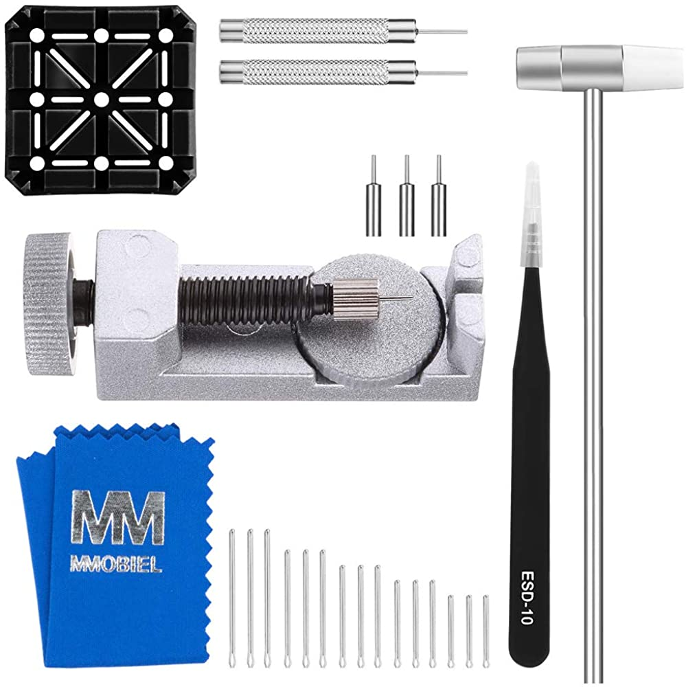 MMOBIEL Watch Band Strap Link Pin Remover Repair Tool 24 in 1 Kit with Extra Tips Cotter Pin Holder Head Hammer