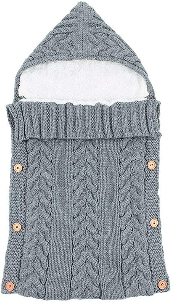 Baby Sleeping Bag Knitted Newborns Swaddle with Side Button Easy to Be Open