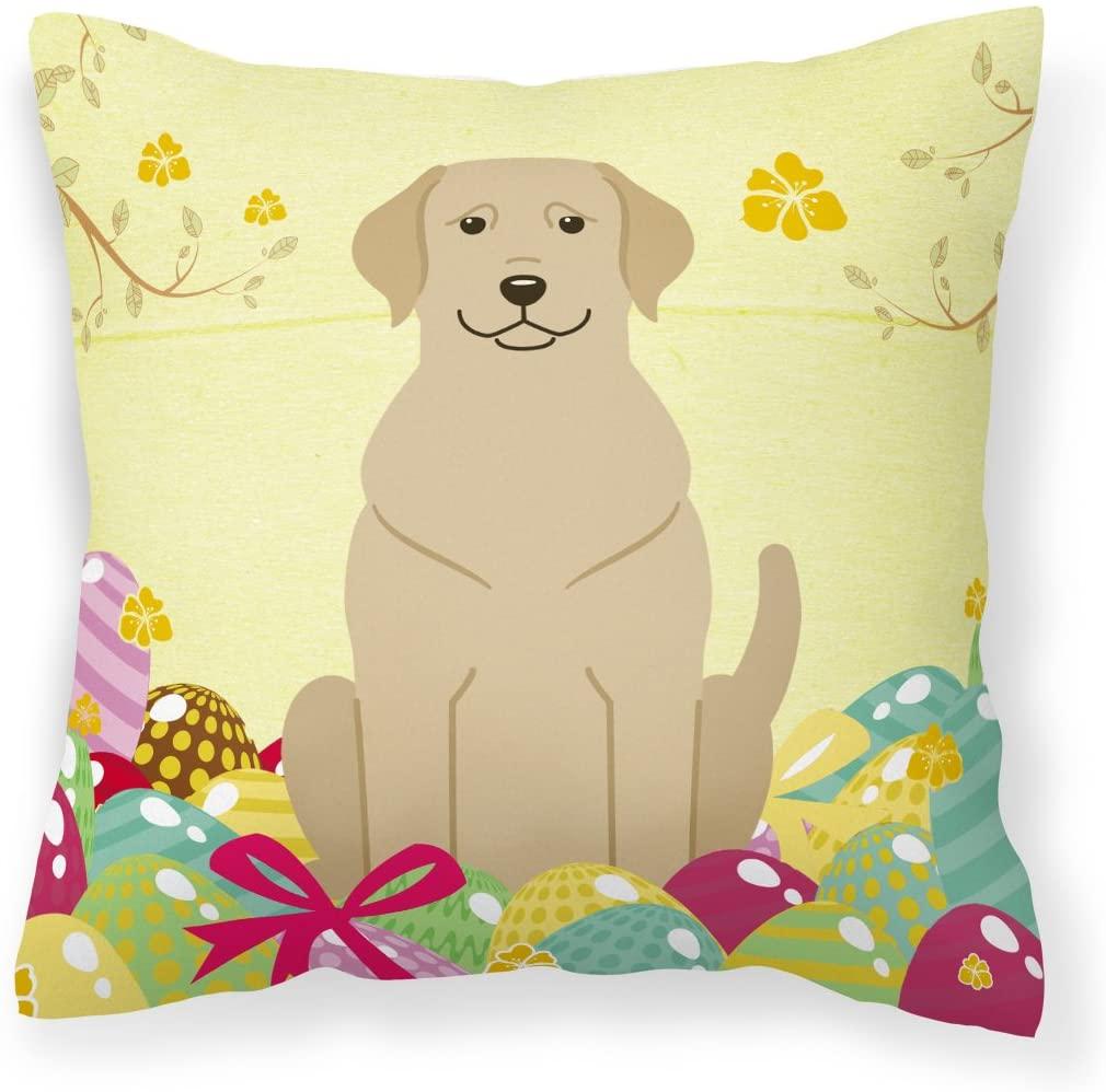 Caroline's Treasures BB6055PW1818 Easter Eggs Yellow Labrador Fabric Decorative Pillow, 18H x18W, Multicolor