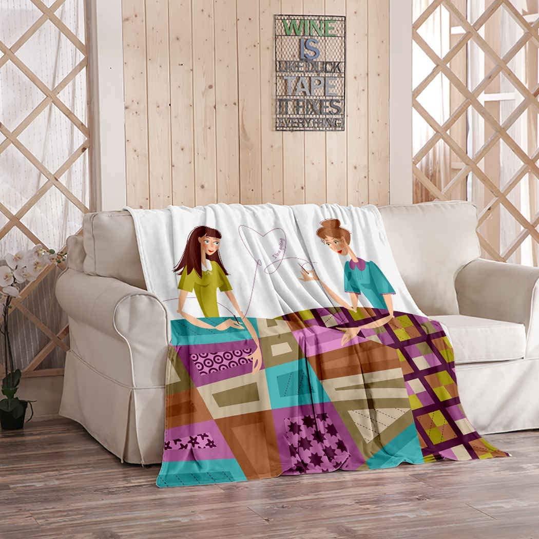 Kuidf Girl Throw Blanket Two Women Make Quilts Patchwork Love Quilting Flannel Bedding Blankets Luxury Oversized for Couch Bed or Sofa 50x60 Inches