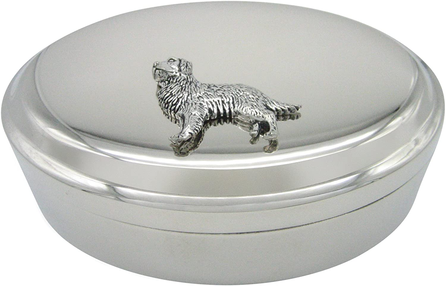 Golden Retriever Dog Pendant Oval Trinket Jewelry Box