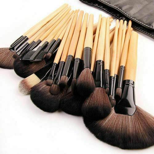 32 PCS Makeup Brush Set, Natural Synthetic Bristle Wooden Handle Cosmetics Foundation Eyeliner Mascara Eyeshadow Face Powder Blush Lipstick Makeup Brush