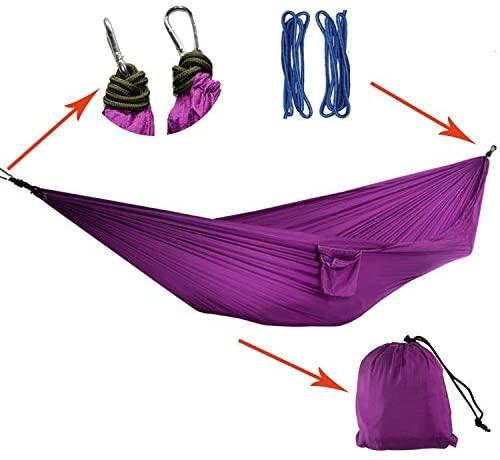 Windbreak Hammock Purple Camping Double Parachute Cloth Swing 270x140cm