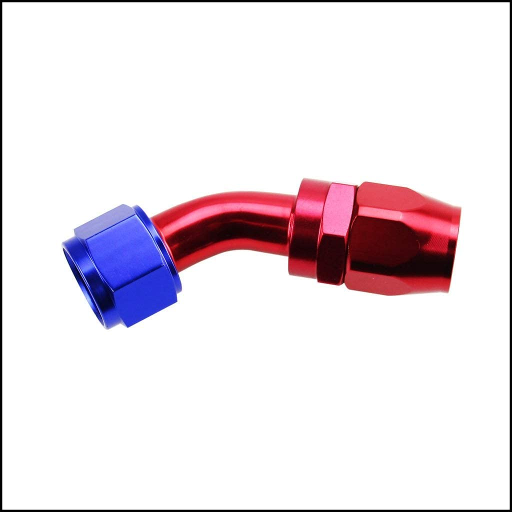 QinMei Zhou Car modification AN8 0-180 degrees Detachable fast/oil-cooled joints Anti-leakage in the oil cooler accessories (Size : Red and blue 0+deg)