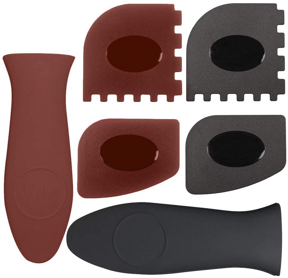 VILA Pan Scraper, 6-in-1 Pack Kitchen Solution, Silicone Hot Handle Holders, Sticker & Gum Remover, Durable & Flexible Plastic Material, Fits Curved & Flat Corners, Multi Usage, Red & Black