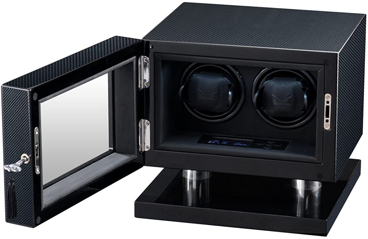 Men's Double Watch Winder High Gloss Carbon Fiber and Black Leather Interior