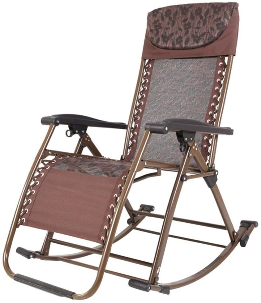 CHENJIU Adjustable Rocking Sun Lounger - Outdoor Folding Rocking Chair Recliner with Pillow for Garden, Patio, Deck - Support 200kg