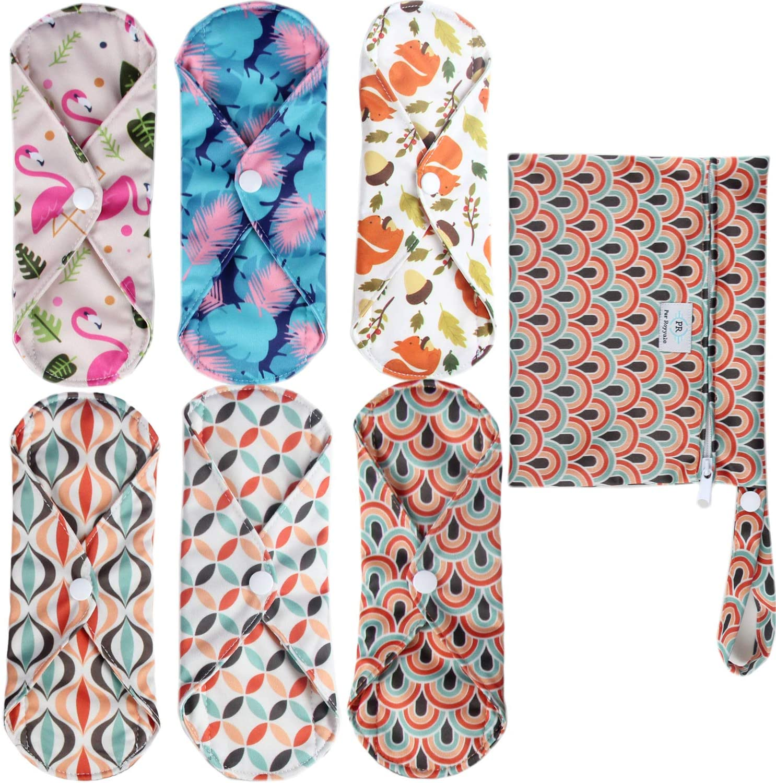 PurRoyyale 6 Pcs + 1 Wet Bag Charcoal Bamboo Reusable Sanitary Pad and Panty Liner, Washable Menstrual Pad, Mama Cloth, Water Proof Wet Bag, Soft and Comfortable, Absorbent, Cloth Menstrual Pad, Eco