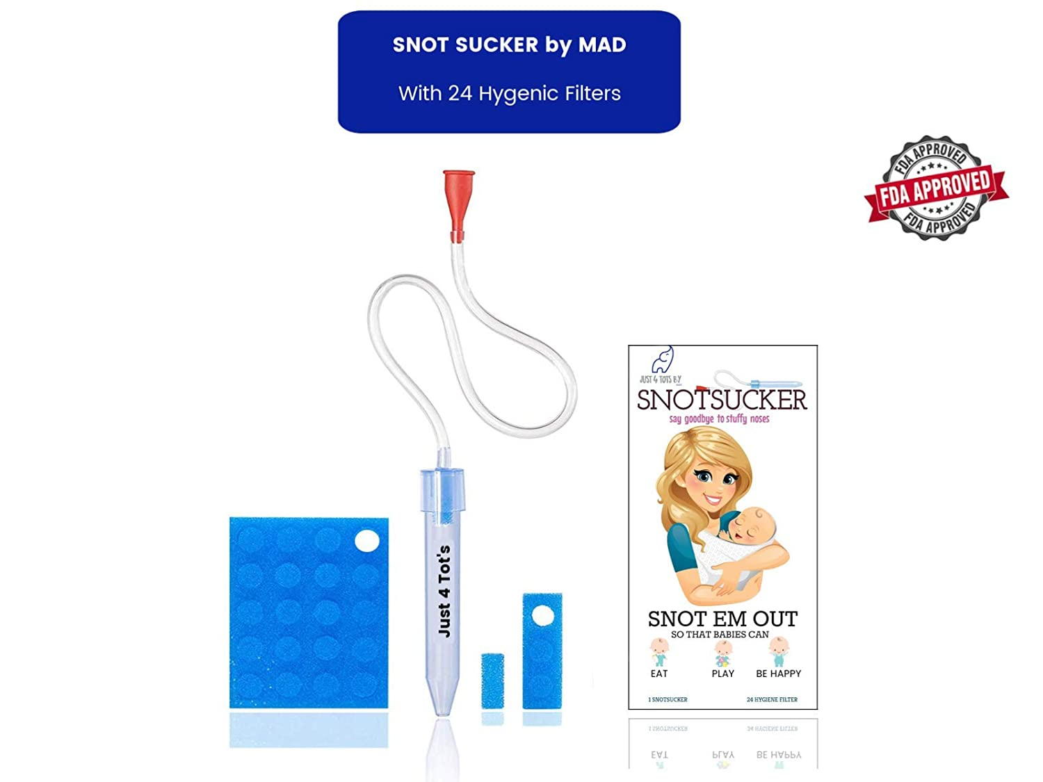 Just4Tots by MAD Baby Nasal Aspirator The Snot Sucker with 24 Extra Filters from Just 4 Tot's by MAD | Compare us to Nose Frida
