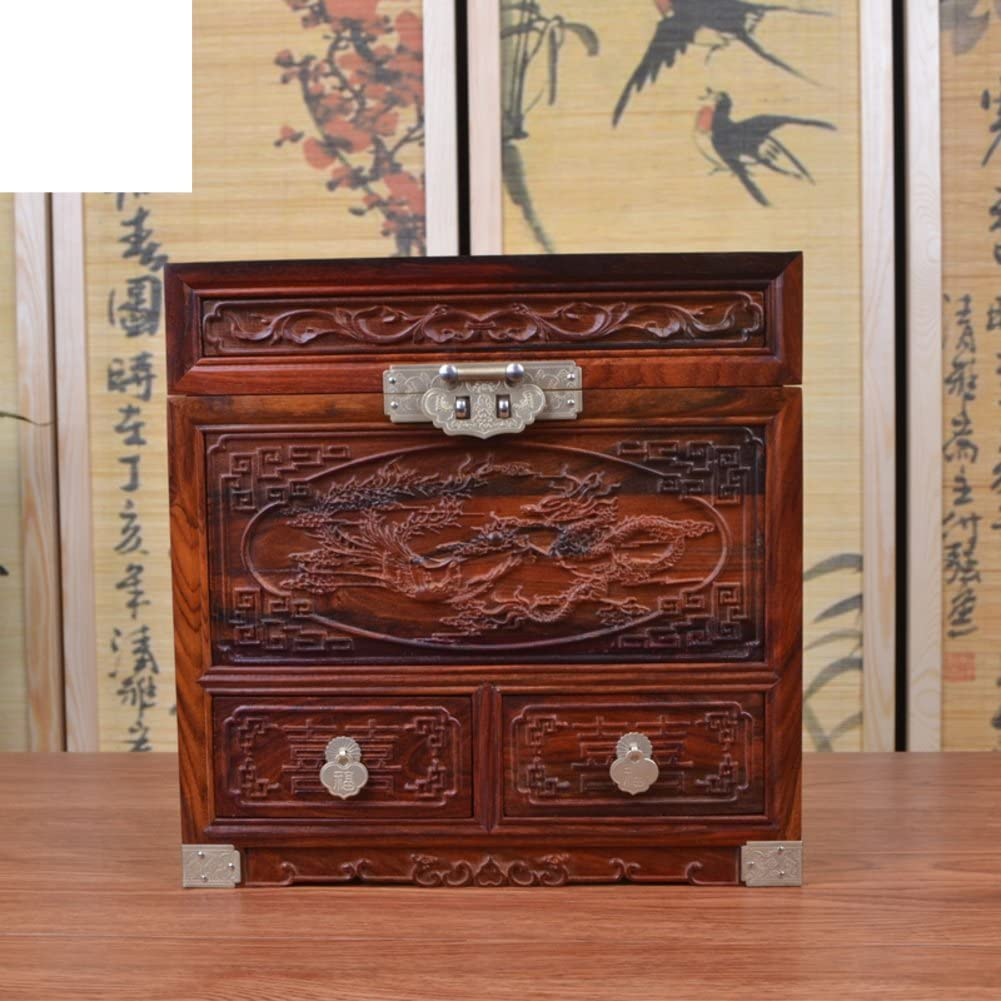WODESHIJIE Laos red Rosewood Jewelry Box/Wooden Jewelry Box/Marriage Solid Wood Jewelry Box/Dragon World/Dresser Mirror-A