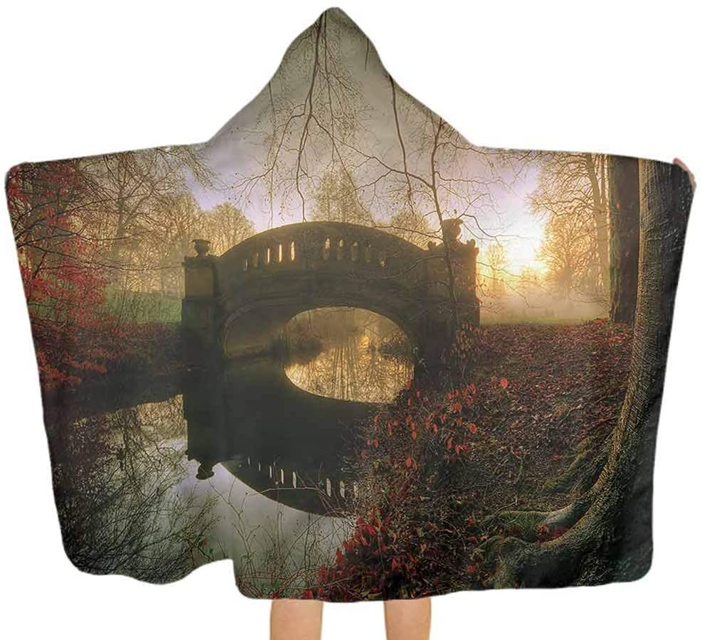 ThinkingPower Hooded Baby Towel Landscape, Magical Bridge Over River Toddler Hooded Beach Bath Towel Suitable as Baby Gifts 51.5x31.8 Inch