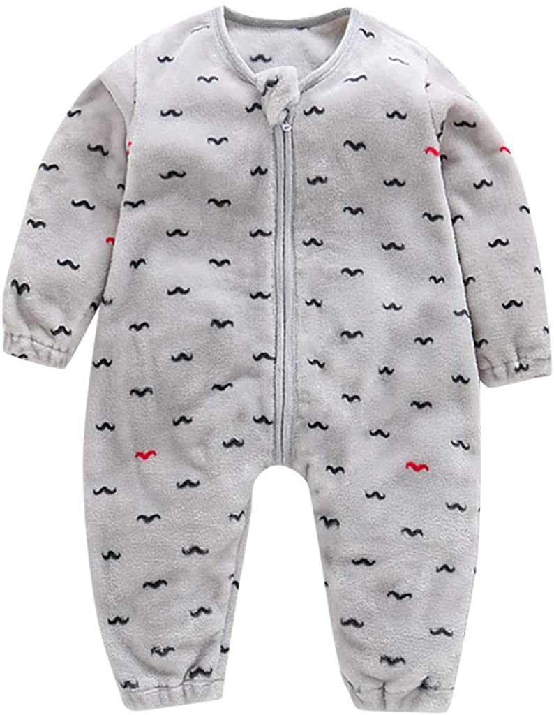 Fartido Jumpsuit Baby Print Thick Warm Flannel Sleeping Bag Jumpsuit Clothes