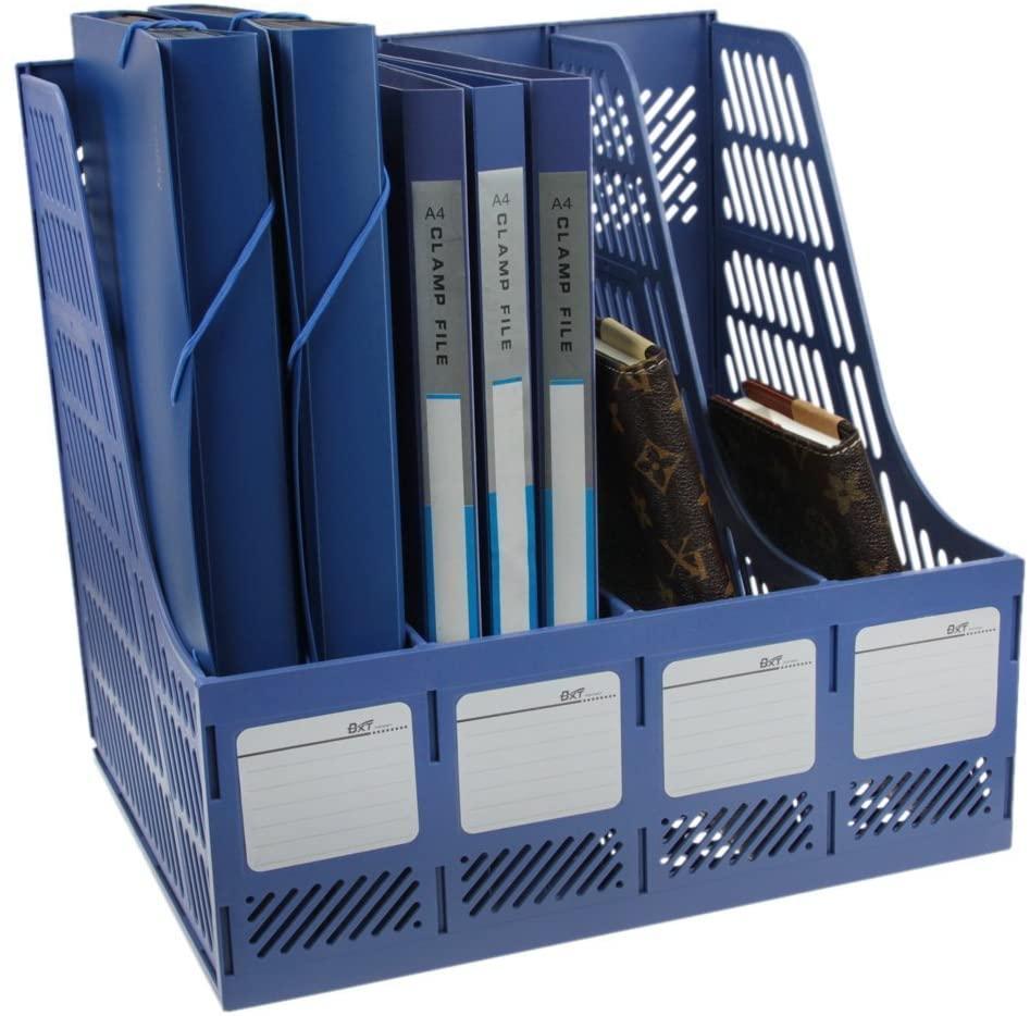 Clobeau Heavy Duty Four Sections File Rack Paper Magazine Holder Home Office Desk Book Sorter Storage Hanger Tidy Dispay Bin Desktop Shelf File Dividers Cabinet Document Tray Organizer Box