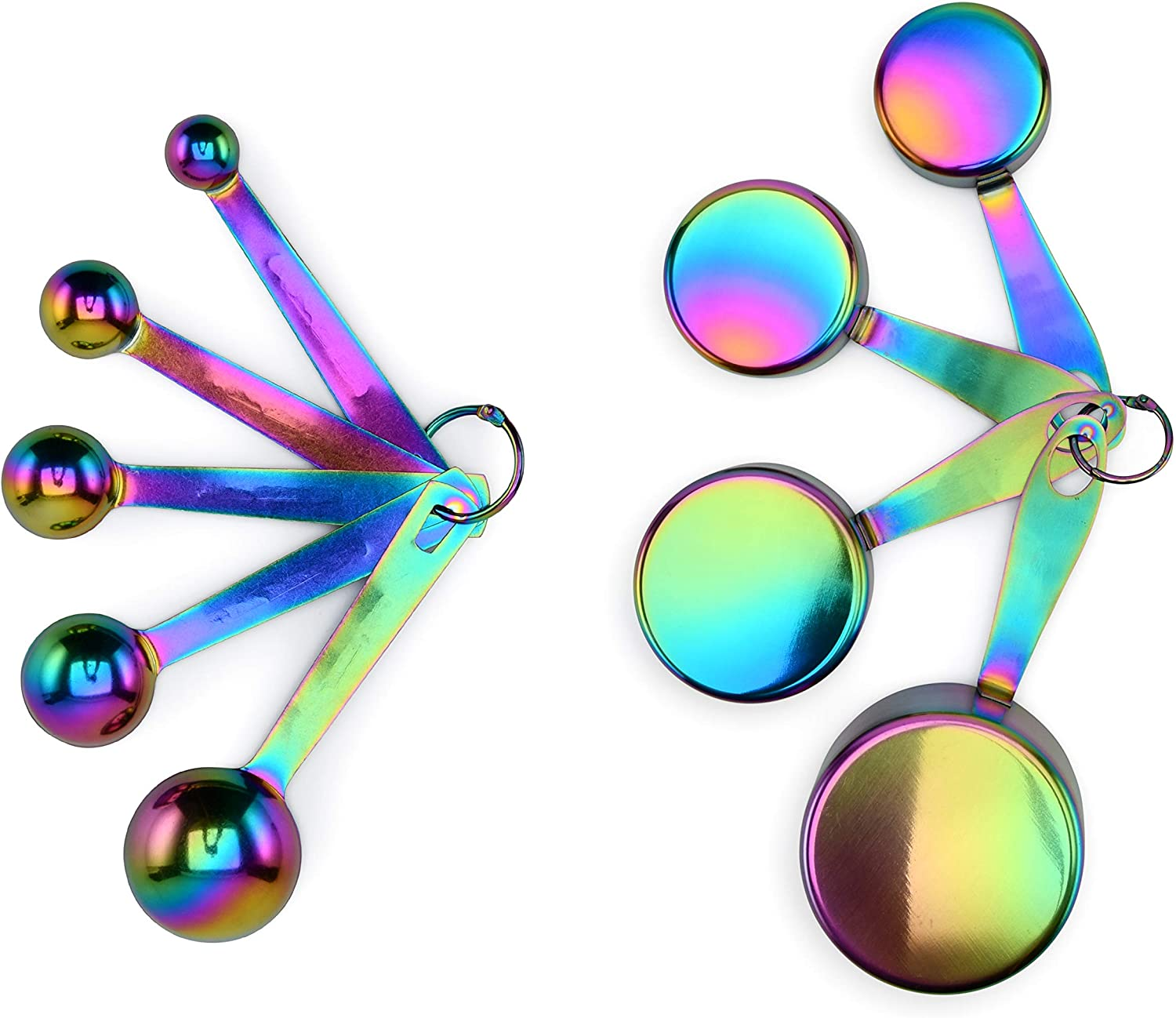 Measuring Cups and Spoons Set, 9 Pieces, Stackable, Titanium-Coated Stainless Steel, Engraved Measurements, Rainbow, Multi-colored