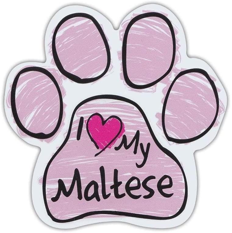 PotteLove Pink Scribble Dog Paw Shaped Magnet - I Love My Maltese - Cars, Trucks, SUVs, Refrigerators, File Cabinets, Etc. - Magnetic Bumper Sticker, Art Decor