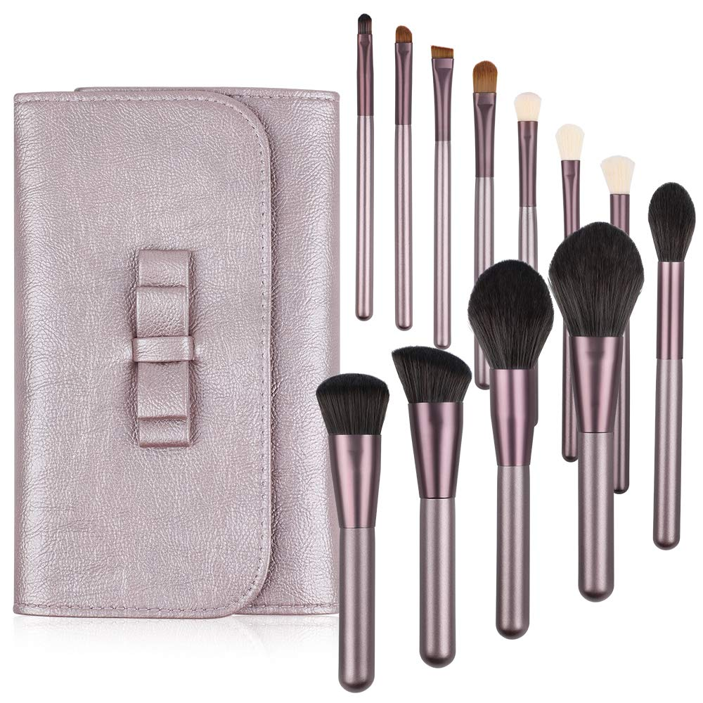 GeeRic 12 Pcs Makeup Brush Set With Case Professional Cosmetic Brushes For Powder Foundation, Eyeshadow, Eyeliner, Purple Lilac