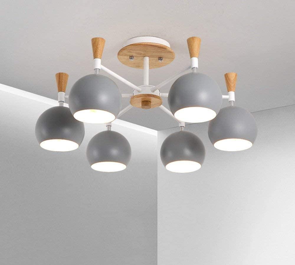 BOSSLV Modern Creative Easy Ceiling Lighting Parlor Dining Bedchamber Home Kitchen Ceiling Light 6-Bulb Iron,Wood Lamp 66 cm E27 Max. 40 w Grey