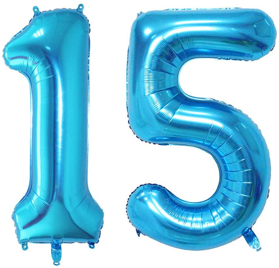Shuxy 2pcs 40 Inch Number Balloon Foil Balloon Number 15 Jumbo Giant Balloon Prom Balloon Mylar Huge Number Balloon for Birthday Party Decoration Wedding Anniversary, XXXL Blue 15 Number Balloon