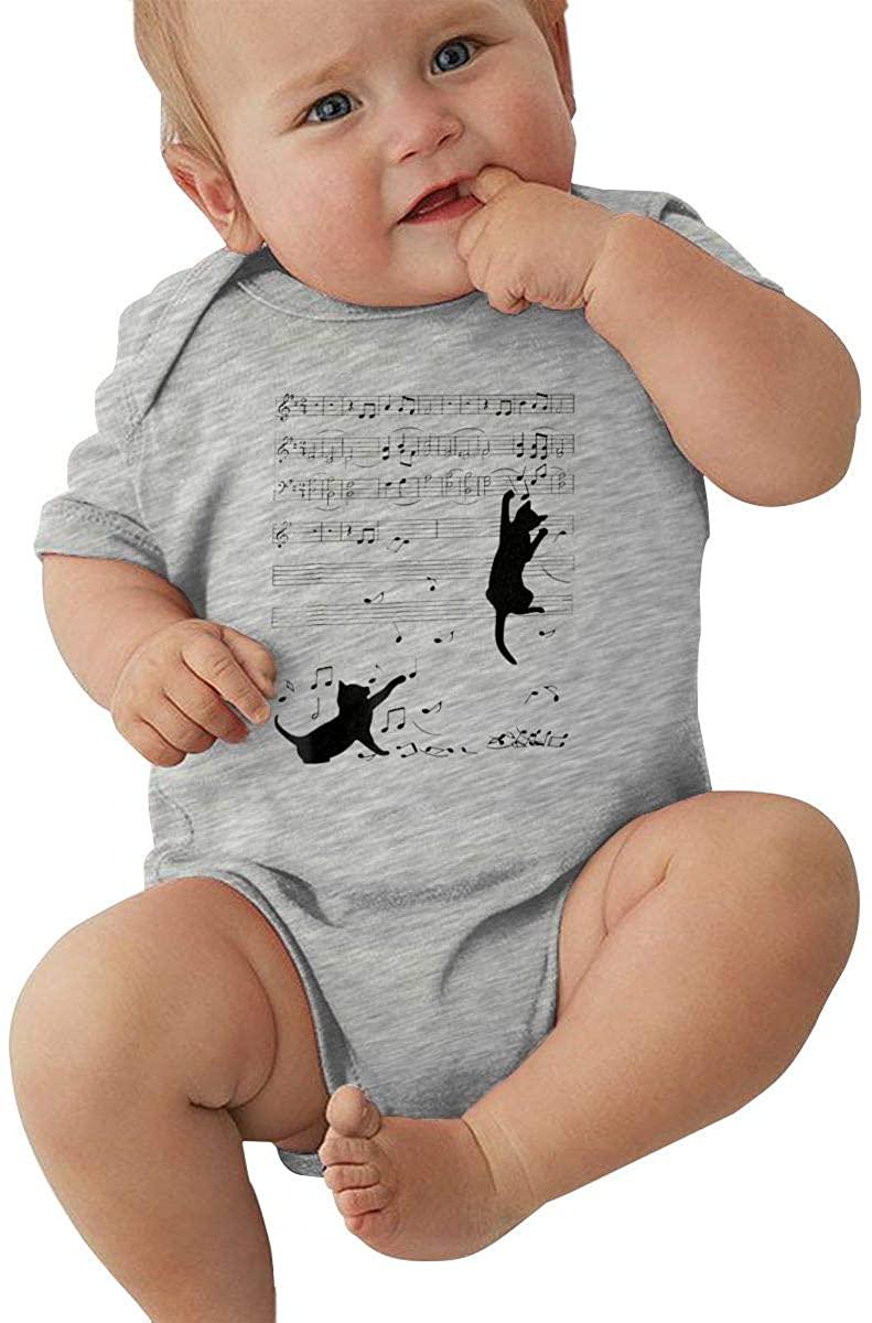 Hxuedan Note Music Black Cat1 Baby Romper Comfortable Baby Creeping Suit