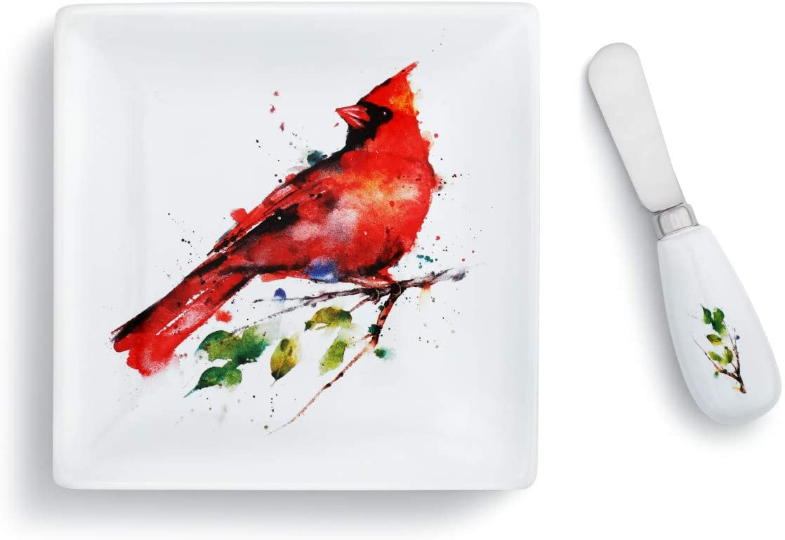 Spring Cardinal Watercolor Red 6 x 6 Stoneware and Steel Plate With Spreader Set