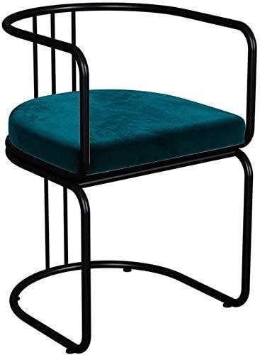 HOMRanger Modern Simple Dining Chair with Armrest, Upholstered Velvet Cushion Seat Chair, Black Metal Frame,Blue