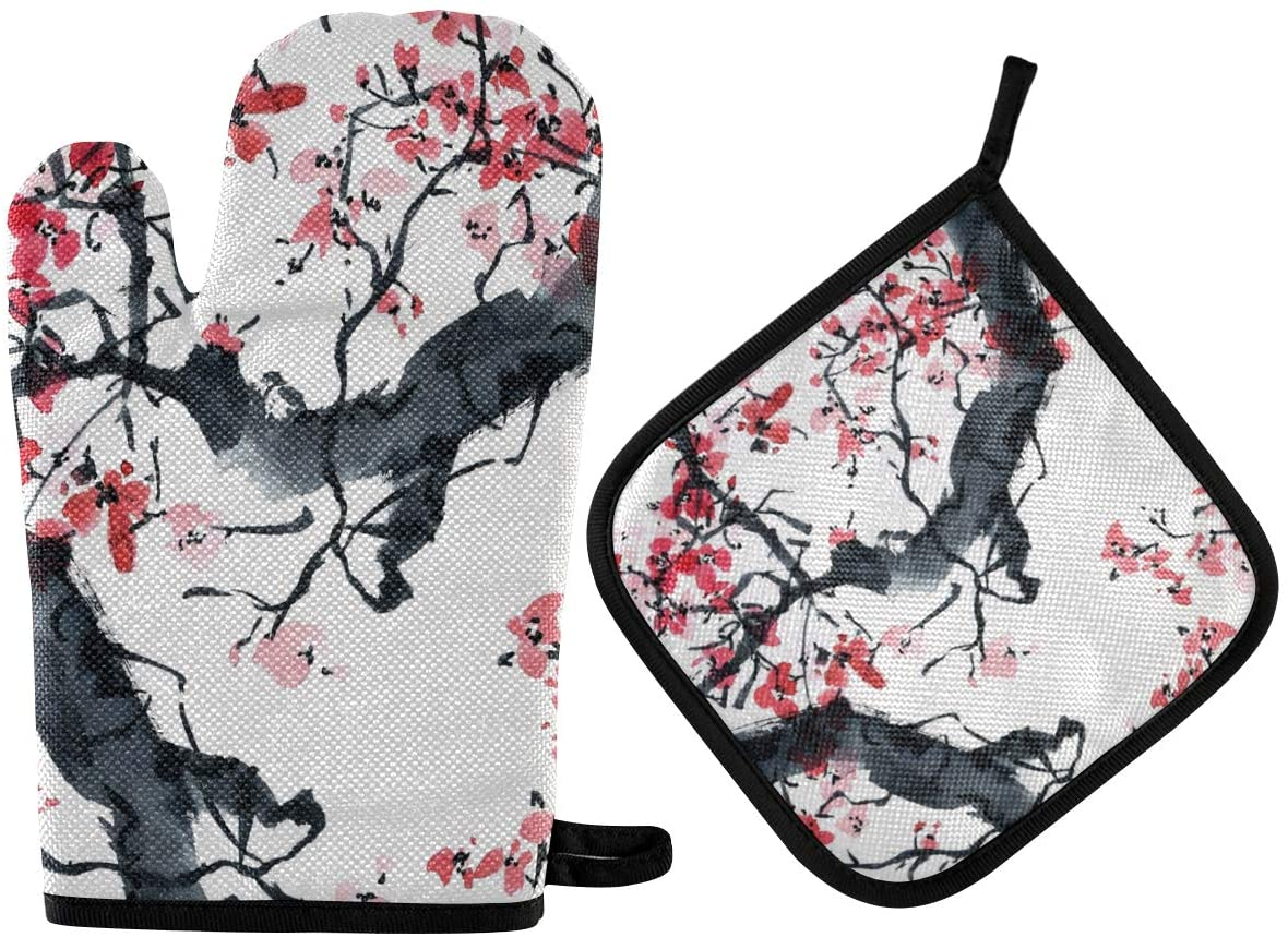 DOMIKING Pot Holders Oven Mitts Sets - Watercolor Blossom Floral Cooking Gloves Heat Resistant Hot Pads Non-Slip Potholders for Kitchen Baking Grilling