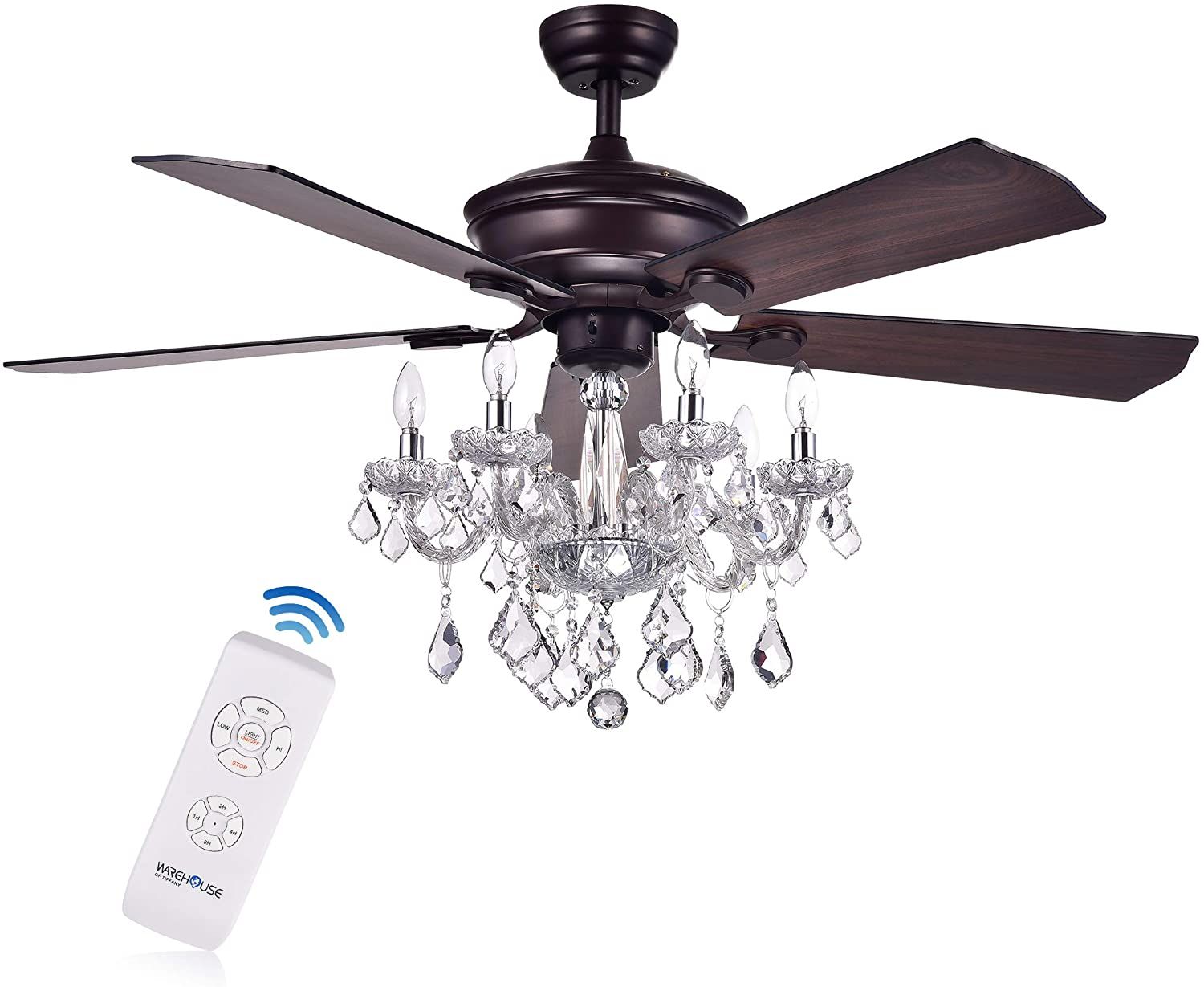 Home Accessories HACFL-8213REMO/AB Warehouse of Tiffany Havorand 52-inch 5-Blade Crystal Chandelier (Optional Remote) Ceiling Fan, Brown