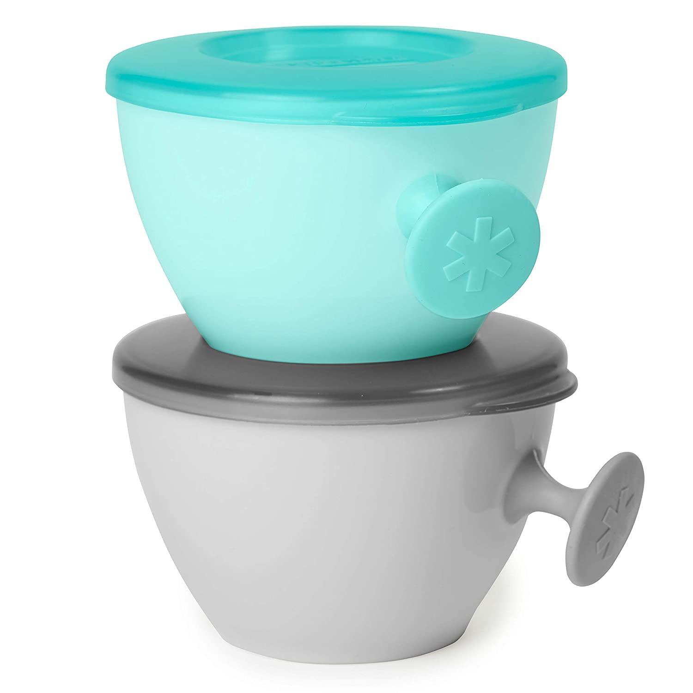 Skip Hop Easy-Grab Baby Bowl with Comfot Grip Handle, 2 Pieces, Grey/Teal