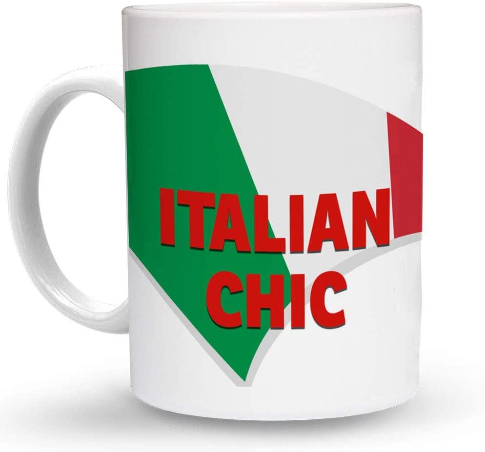 Makoroni - ITALIAN CHIC Italy Flag 6 oz Ceramic Espresso Shot Mug/Cup Design#12
