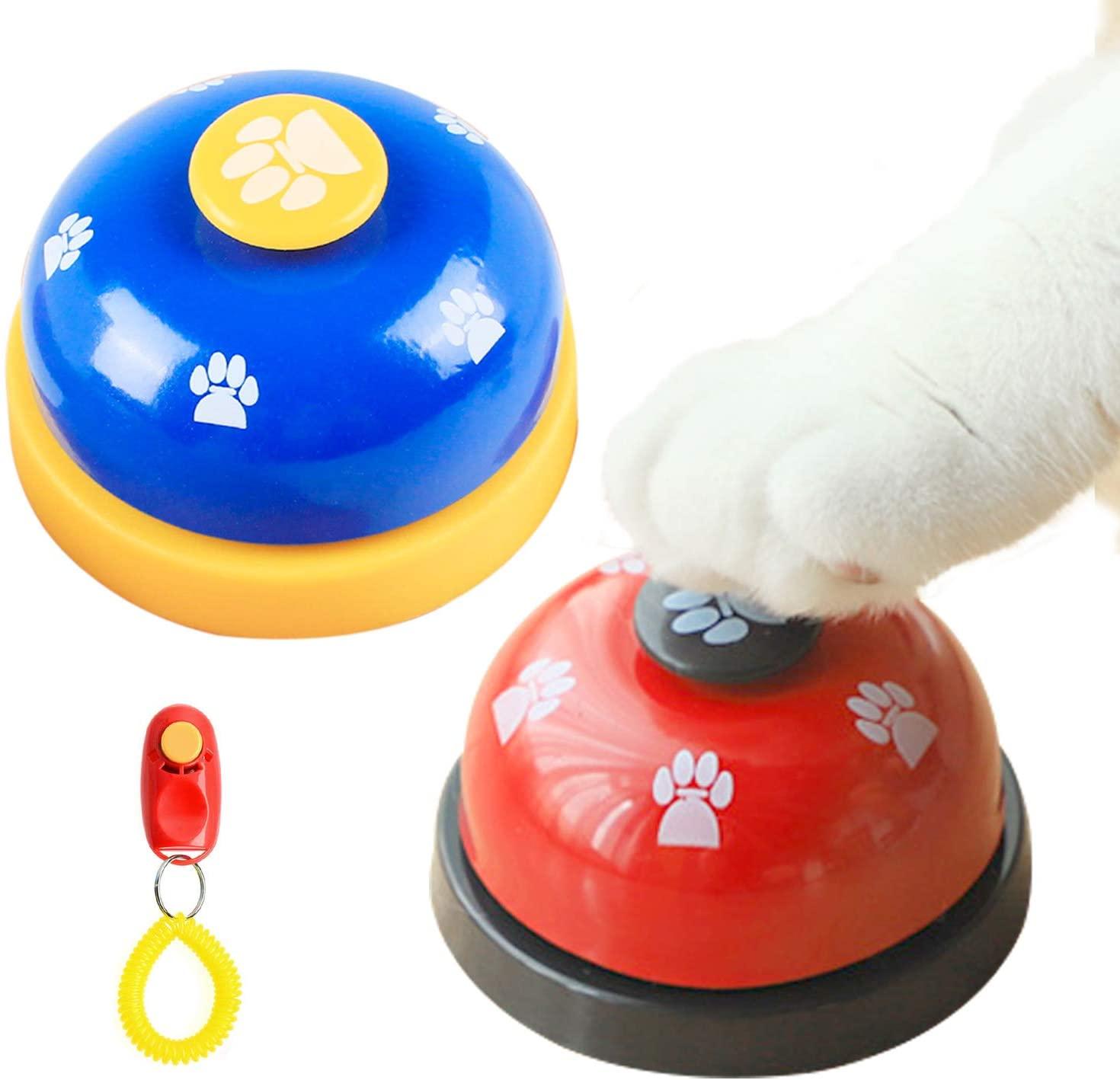 Lainrrew 2 Pcs Pet Training Bells, Metal Dog Potty Training Bells Door Bells with Non Slip Rubber Pad Bonus 1 Pcs Dog Training Clicker