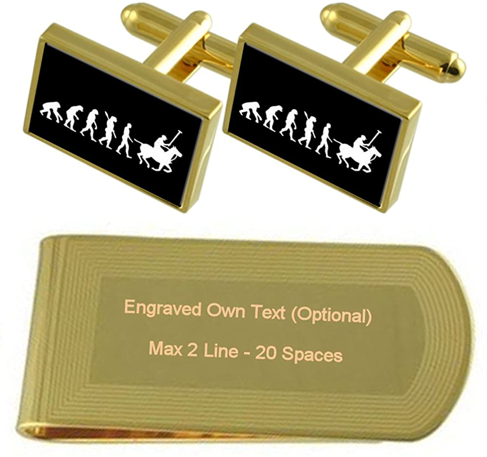 Evolution Ape to Man Polo Gold-tone Cufflinks Money Clip Engraved Gift Set
