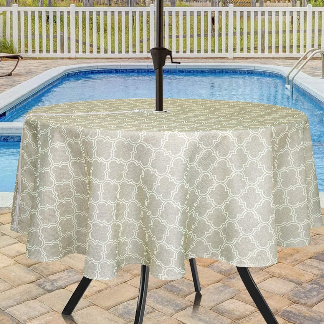 Eforcurtain Geometric Floral Print Umbrella Tablecloths with Zipper for Outdoor Use for Round Tables Tables Durable Waterproof Fabric Table Cover, 60 Inch, Light Yellow