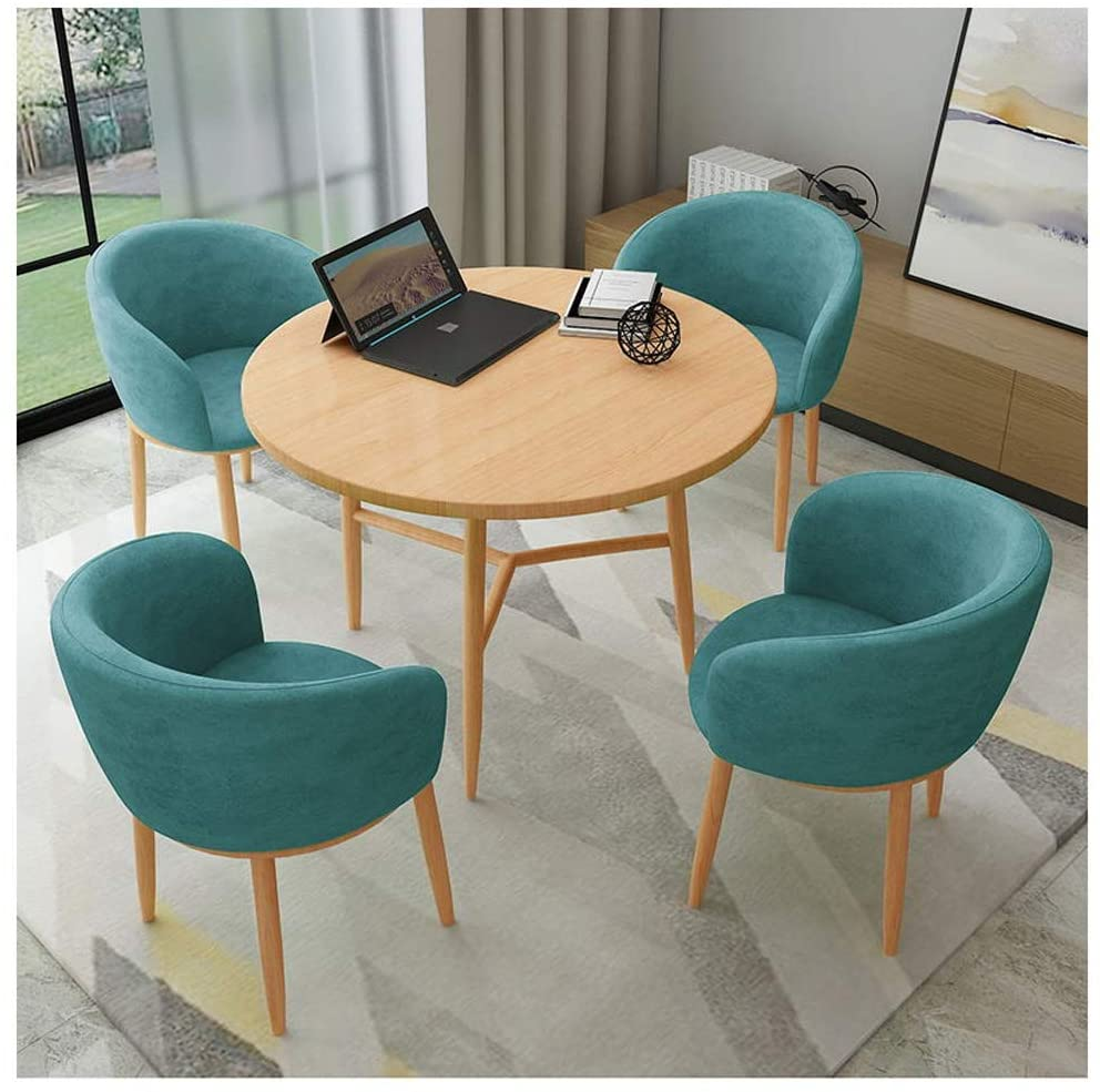 Coffee Table and Chair Combination Restaurant 1 Table 4 Chairs Set Household Furniture Living Room Kitchen Bedroom Bar Modern Simplicity Small Wooden Round Table Flannel Chair