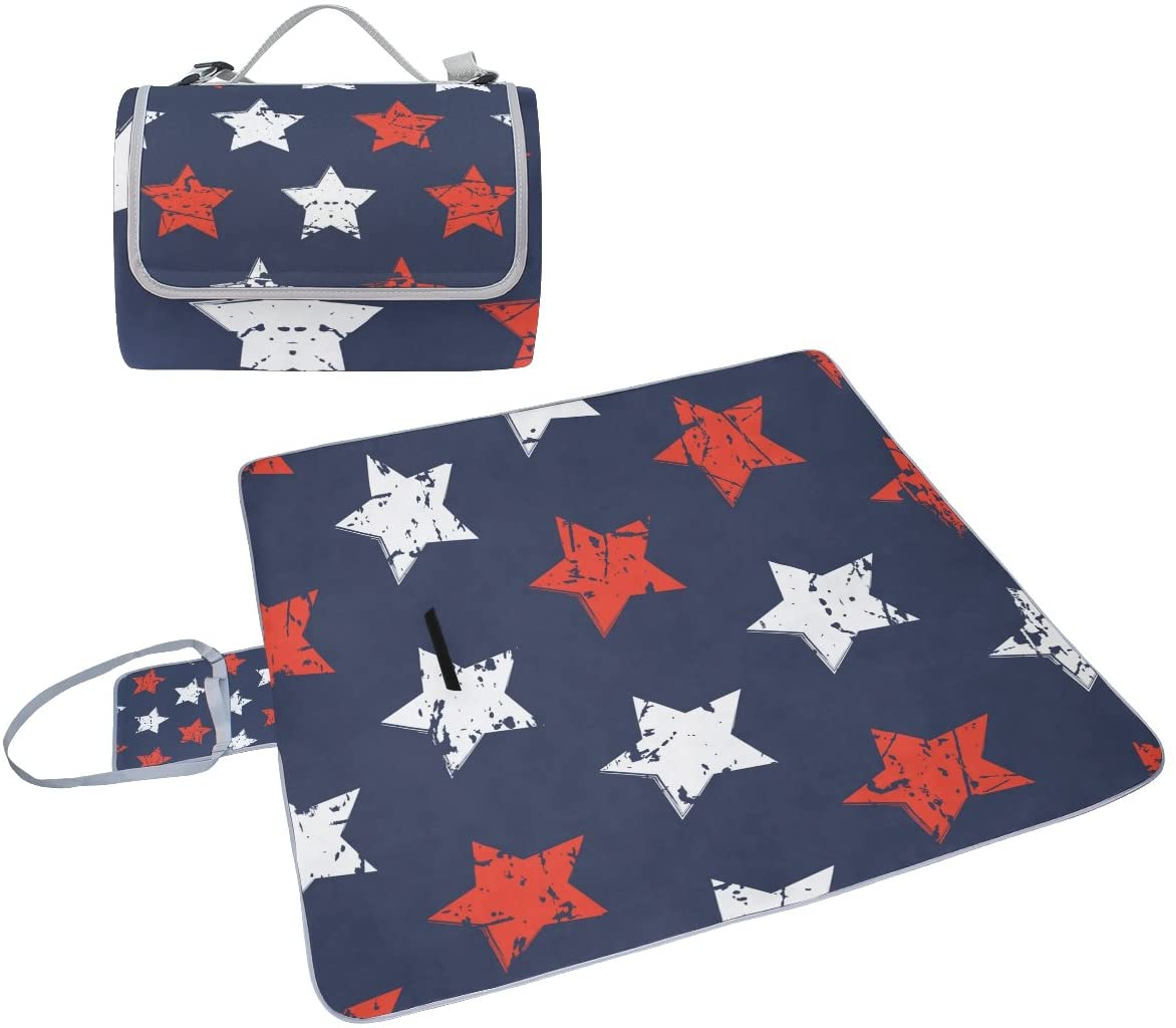 Naanle American Flag Retro Picnic Blanket Outdoor Picnic Blanket Tote Water-Resistant Backing Handy Camping Beach Hiking Mat
