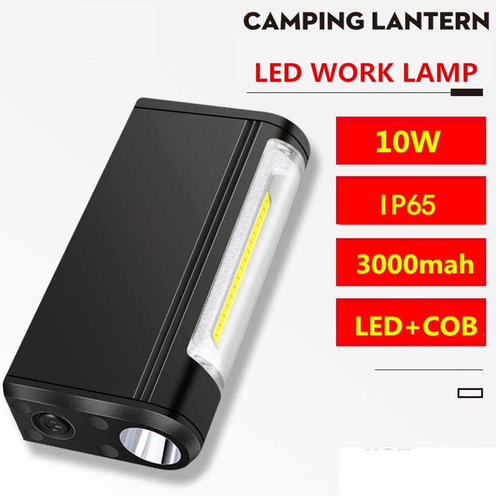 Portable COB LED Emergency Light 10W Super Bright Waterproof Camping Tent Light Rechargeable Outdoor Working Flashlight