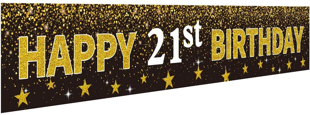Ushinemi Happy 21st Birthday Banner Party Decorations, 21 Years Old Birthday Backdrop, Cheer to 21th Year Anniversary Large Signs, 9.8X1.6Ft, Gold and Black