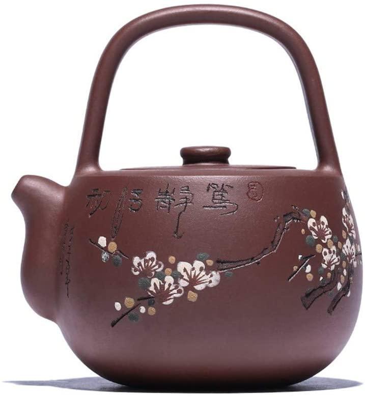 QinMei Zhou Ore purple clay teapot handmade tea Ti Liang Shek Kwu (Color : Red)