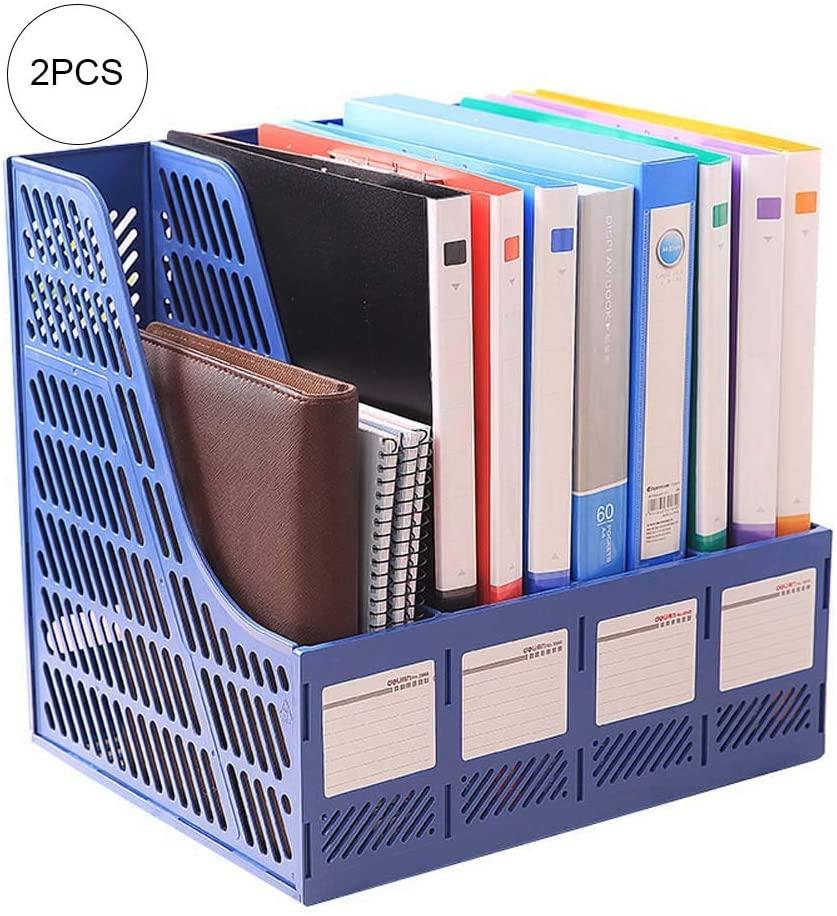 Kiyte Desktop File Organizer, 4 Section Magazine Plastic Holders Frames, Pen Holder, Book Bins, Magazine Holders, Torage Organiser Box, 2PCS,Blue