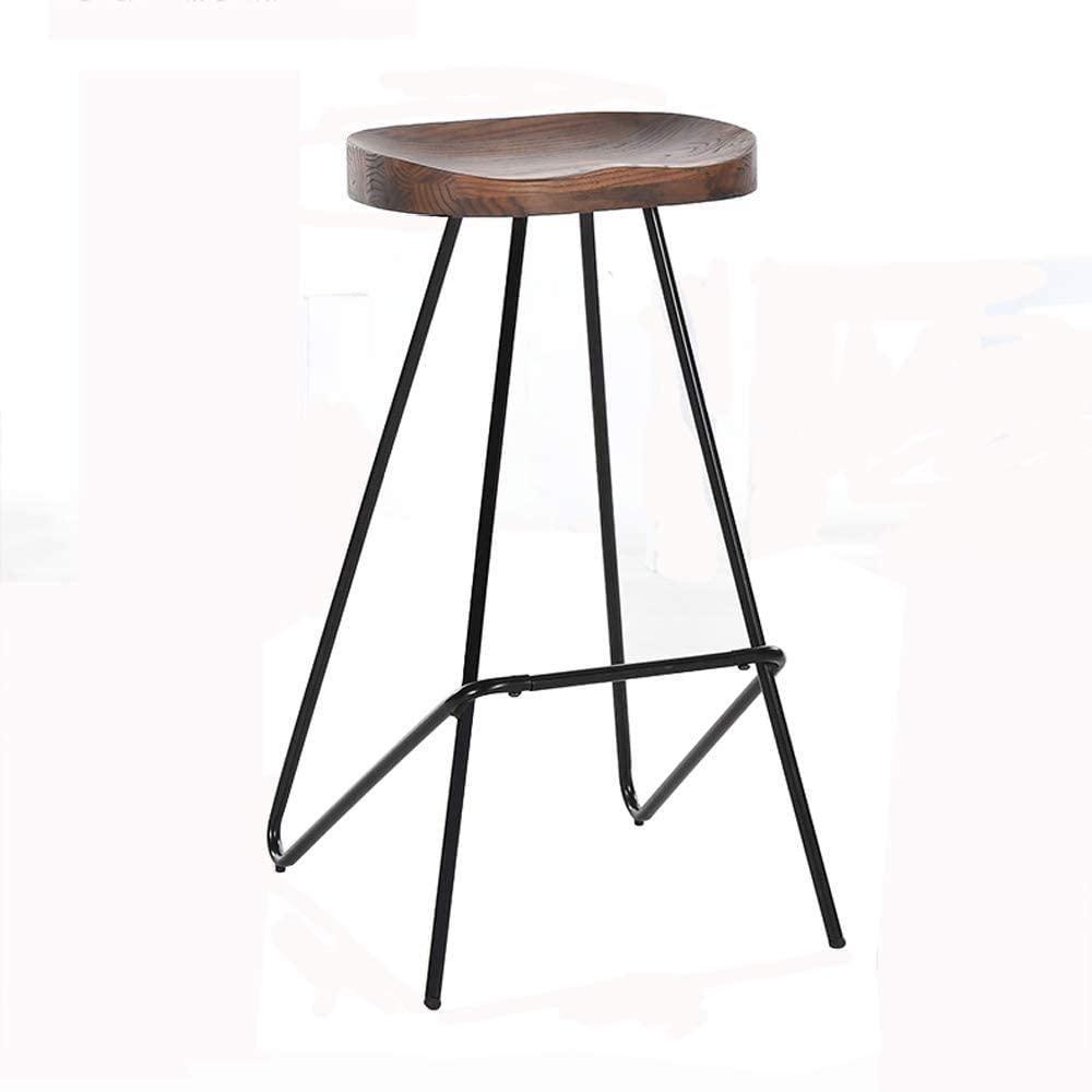 HOMRanger Bar Stool Nordic Steel Bar Stool Home High Stool Bar Stool Creative Bar Chair Simple Solid Wood (Color : A)