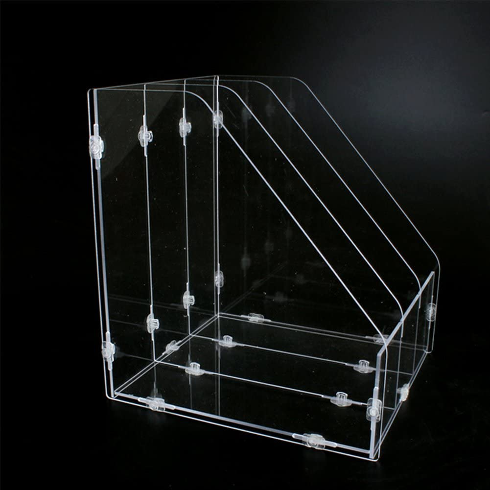 Trycooling Assemble Transparent Acrylic Desk Desktop File Folder Rack Holders Office Supply Caddy Paper Organizer with 3 Upright Sections