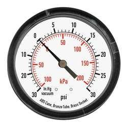 Industrial Grade 4FLZ8 Pressure Gauge, 1 1/2 In, 160 Psi, Back