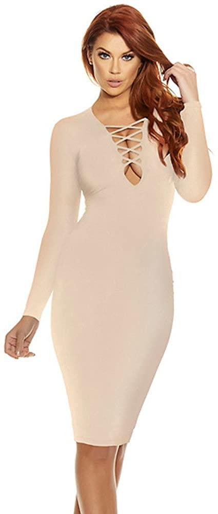 Criss Cross Long Sleeve Midi Dress