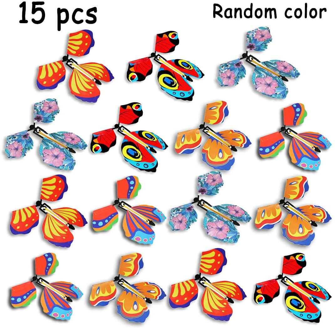 B bangcool Magic Fairy Flying Butterflies Rubber Band Powered Funny Wind Up Butterfly Toy Fairy Toy Surprise Gift Party Playing (Multicolor)