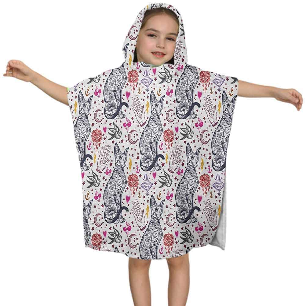 Egyptian Kids Hooded Towel, Traditional Tattoo Pattern with Gothic Magic Icons Witchcraft Symbols Kitty Hands, 24