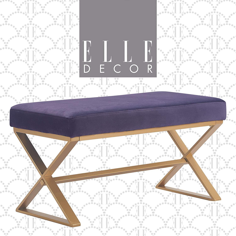 Elle Decor Upholstered Long Vanity Bench Criss-Cross Metal Frame Legs in Gold or Shiny Chrome, Fabric Padded Furniture for Bedroom, 32