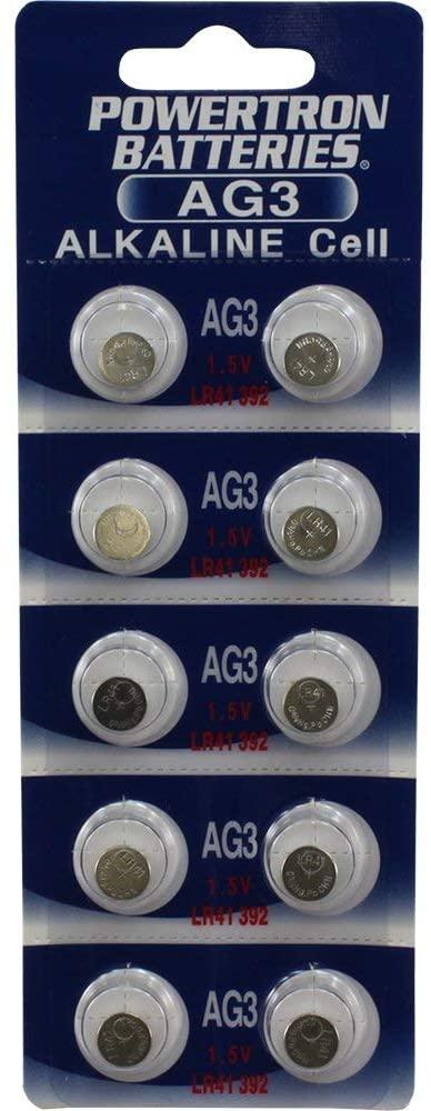Powertron 10 AG3 Battery AG3 LR41 V3GA RW87 G3 SR41 192 V26A GP192 392A