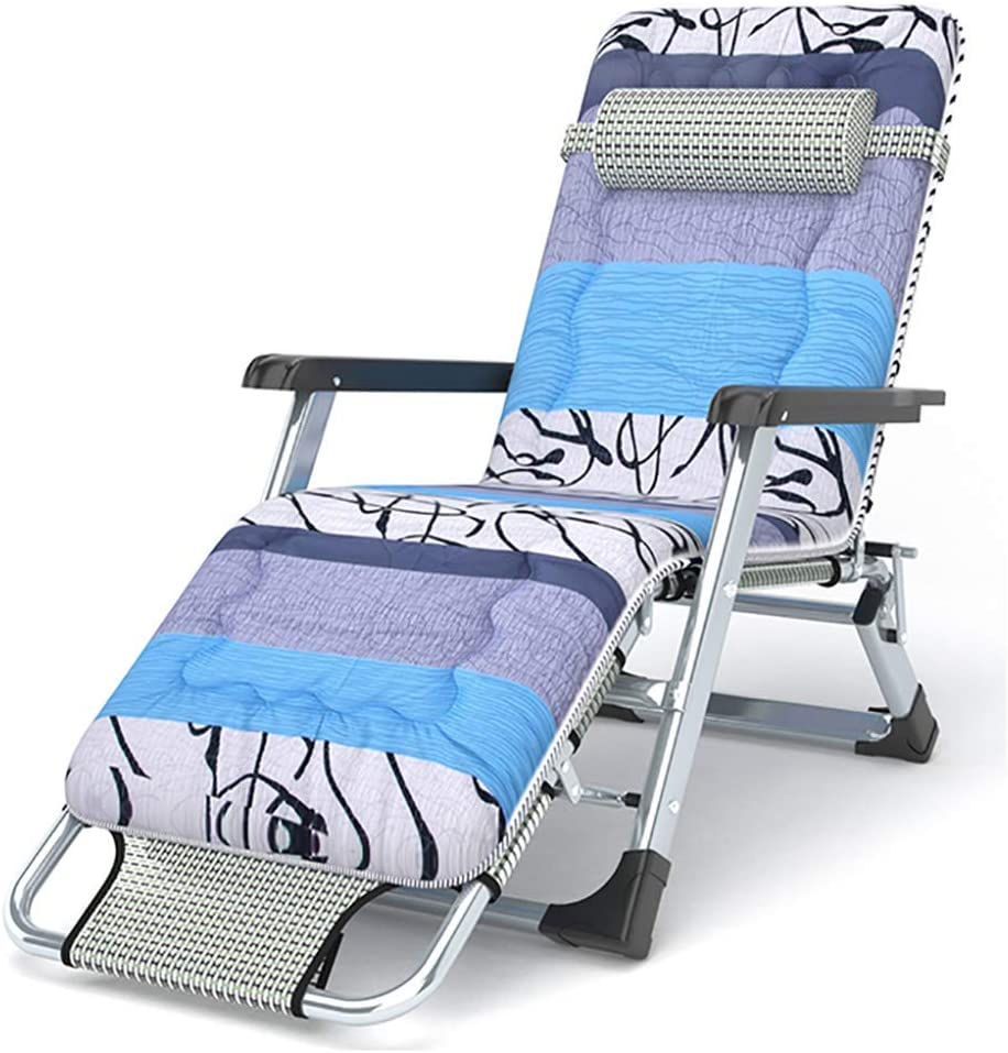 Reclining Patio Chairs Zero Gravity Recliner Padded Patio Lounger Chair, Portable Foldable Deck Chair, Adjustable Recliner with Headrest, for Office Patio Lawn Beach Swimming Pool Garden