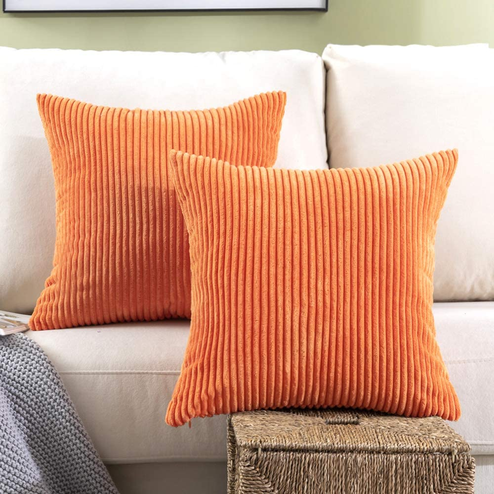 Woaboy Pack of 2 Striped Corduroy Decorative Pillow Cover Cozy Square Throw Pillowcase Super Soft Cushion Cases for Chair Bed Couch Sofa Living Room Office 18 x 18Inch 45 x 45cm Orange