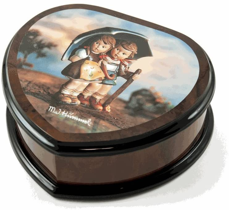 Nostalgic Heart Shape Painted Ercolano Music Jewelry Box Titled - Many Songs to Choose - Stormy Weather by MI Hummel - Eine Kleine Nachtmusik Allegro